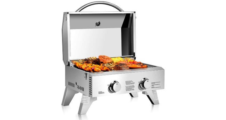 Giantex Propane Tabletop Gas Grill Stainless Steel Two-Burner