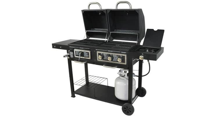 BLOSSOMZ Dual Fuel Combination Charcoal Gas Grill
