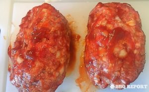 Sauce coated BBQ meatloaves