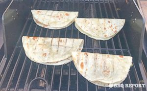 Grilling the quesadillas