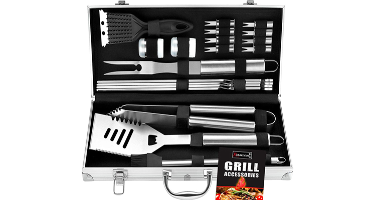 ROMANTICIST 20-Piece Heavy Duty Stainless Steel Barbecue Set with Case