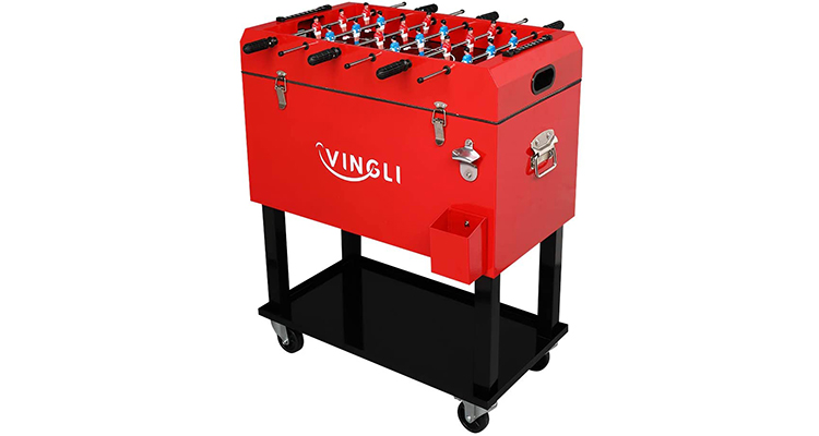 VINGLI 68 Quart Rolling Ice Chest on Wheels with Foosball Table Top