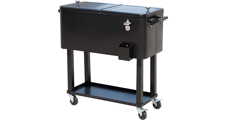 Outsunny 80-Quart Rolling Ice Chest Cart