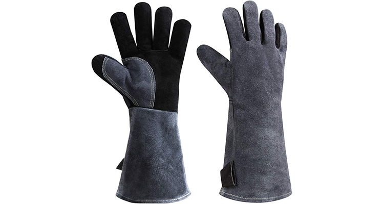 OZERO Heat Resistant Leather Welding BBQ Grill Gloves